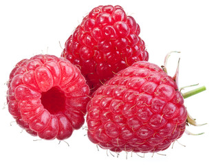 Three raspberries isolated on a white.