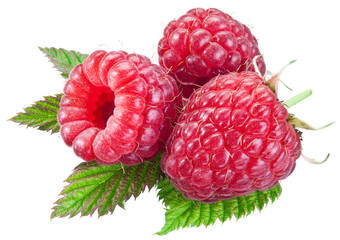 Three raspberries with leaves isolated on a white.