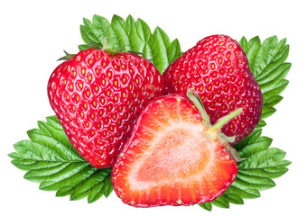 Strawberry fruits with leaves. File contains clipping paths.