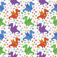 Seamless pattern, cartoon colorful Dragons