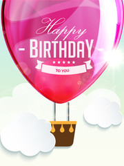 Happy birthday balloons greeting card deep rose illustration