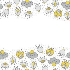 oliwkowe szare kwiaty i kropki poziomy border na białym tle