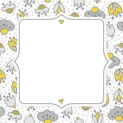 oliwkowe szare kwiaty i kropki deseń na bieli z ramką