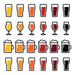 Beer glasses different types icons - lager, pilsner, ale