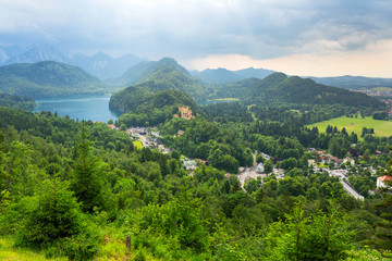 Hohenschwangau village and castle in the Bavarian Alps, Germany