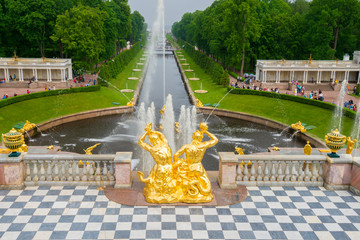 Grand Cascade and sea canal in Peterhof palace, St Petersburg