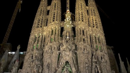 Sagrada Familia church at night. Barcelona.