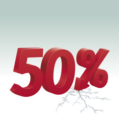 50% off. Poster to advertise sales