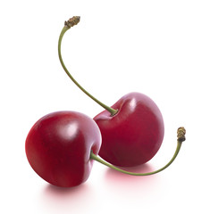 Two cherries separate isolated on white background