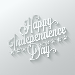independence day cut paper lettering background