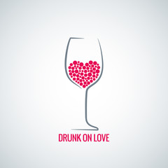 wine glass love heart concept design background