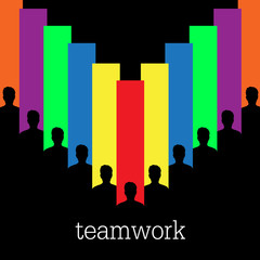 Teamwork colorful vector concept