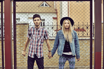 Young modern stylish hipsters couple
