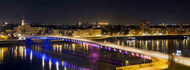 Rainbow bridge in Novi Sad, Serbia at night.