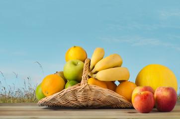 Fruit Basket under Blue Sky