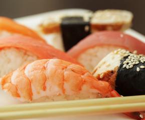 Sushi set on white plate