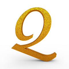 "3d ""Q"" Gold Letter with Bump - isolated"
