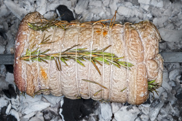 veal roast on barbecue