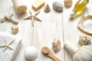 Natural spa supplies with shells