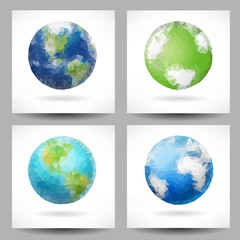 Backgrounds with triangular planet Earth