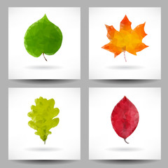 Set of backgrounds with triangular leaves