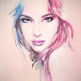 oman portrait .abstract watercolor .fashion background