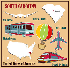 Flat map of South Carolina  for air travel by car and train