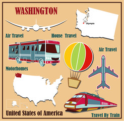Flat map of  Washington  for air travel by car and train