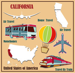 Flat map of  California  for air travel by car and train.
