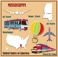 Flat map of  Mississippi  for air travel by car and train