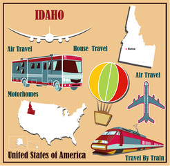 Flat map of Idaho  for air travel by car and train