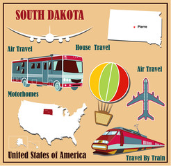 Flat map of South Dakota  for air travel by car and train