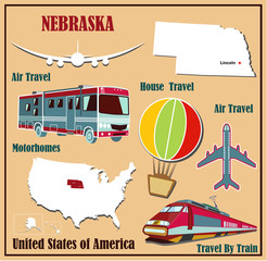 Flat map of Nebraska  for air travel by car and train