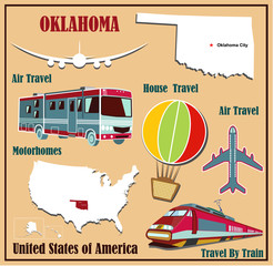 Flat map of Oklahoma  for air travel by car and train