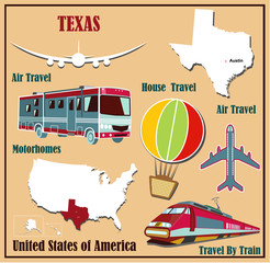 Flat map of Texas  for air travel by car and train