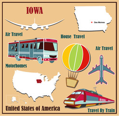 Flat map of Iowa  for air travel by car and train.