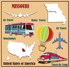 Flat map of Missouri  for air travel by car and train.