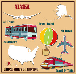 Flat map of Alaska in the U.S. for air travel by car and train