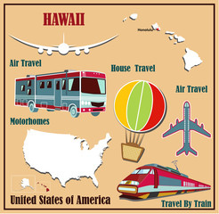 Flat map of Hawaii in the U.S. for air travel by car and train