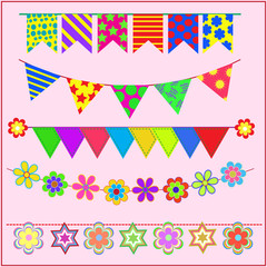 Colorful flags and flowers on pink background