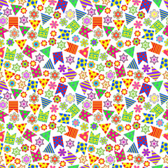 Seamless pattern of colored flags and flowers