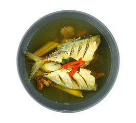 Bowl of thai food - tamarind soup with fish