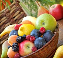 Organic fruit in wicker basket