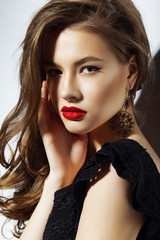 Portrait of Classy Stylish Woman Brunette with Red Lips