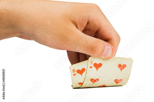 Poster two playing cards in hand isolated on white background