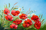 Fototapety oil painting - poppies in the field