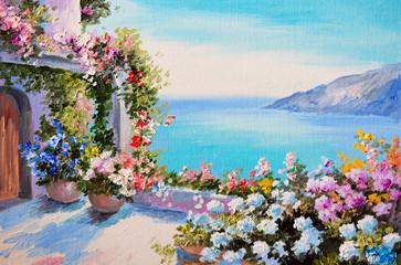 oil painting - house near sea