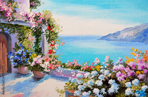 oil painting - house near sea - 68069201