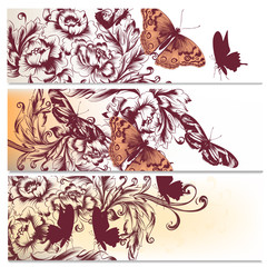 Beautiful backgrounds set with flowers