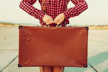 Vintage suitcase, copy-space